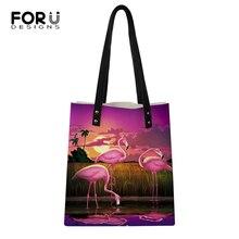 FORUDESIGNS Women Fashion Handbags Casual Sunset Flamingos Pattern Girls Shoulder Bags Large Capacity Travel Storage Package Bag fashion flamingos canvas handbags korean fashion large capacity casual printed shoulder bag women beach bags