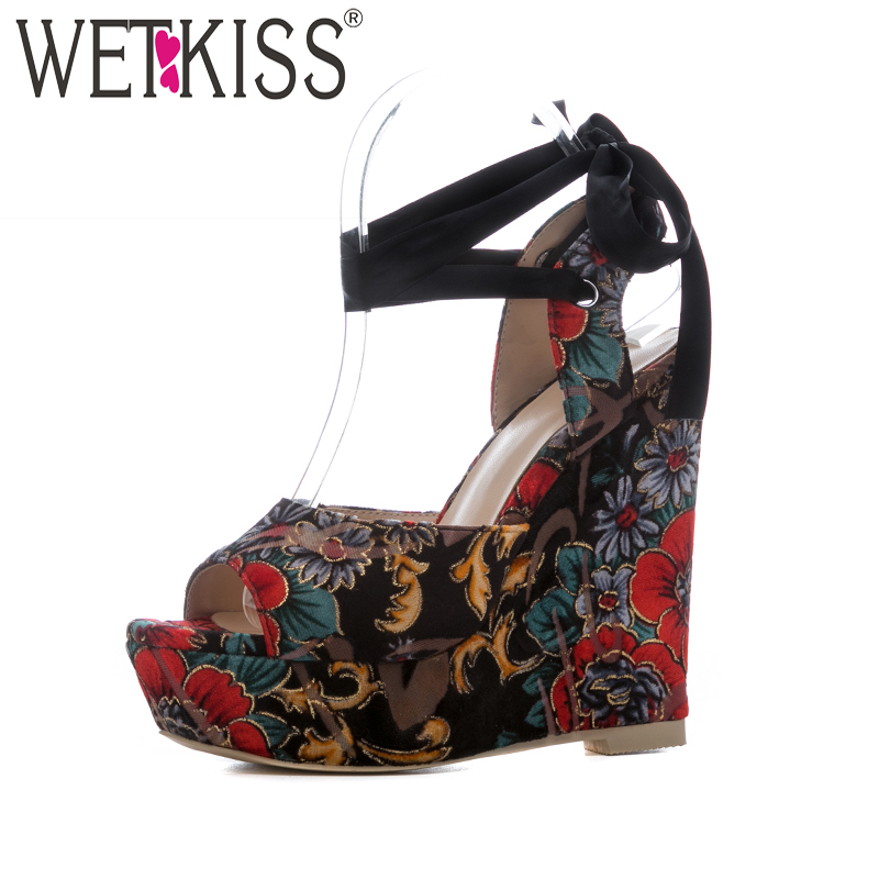 WETKISS Cross Strap High Heels Women Sandals Wedges Peep Toe Printing Footwear New Summer Fashion Ladies Platform Shoes Big Size lucyever women casual peep toe shoes thick platform creepers sandals woman fashion wedges high heels stars summer shoes