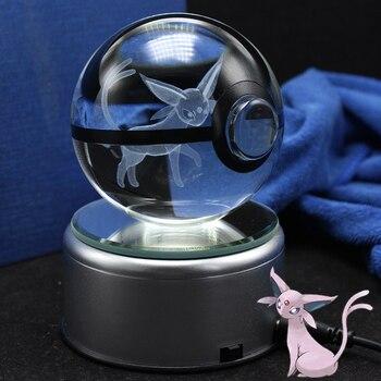 Lampe 3d Pokemon cristal boule de verre d'esperon dessin d'animaux à l'intérieur figurines d'action Pokemon jouet cadeaux décoratifs