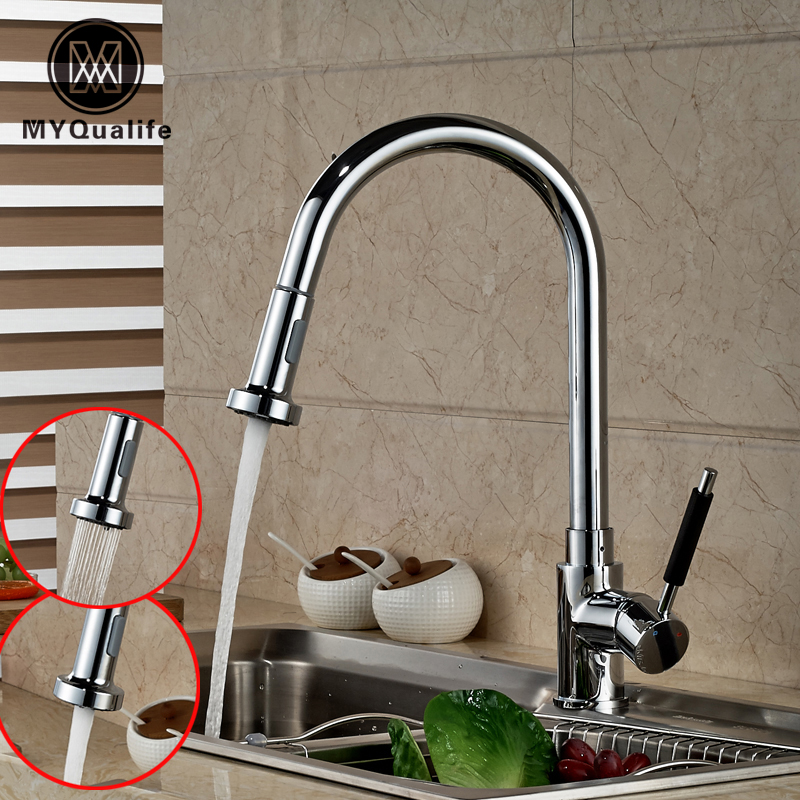 Luxury Handheld Pull Out Pull Down Kitchen Faucet Deck Mounted Chrome Brass Hot and Cold Mixer