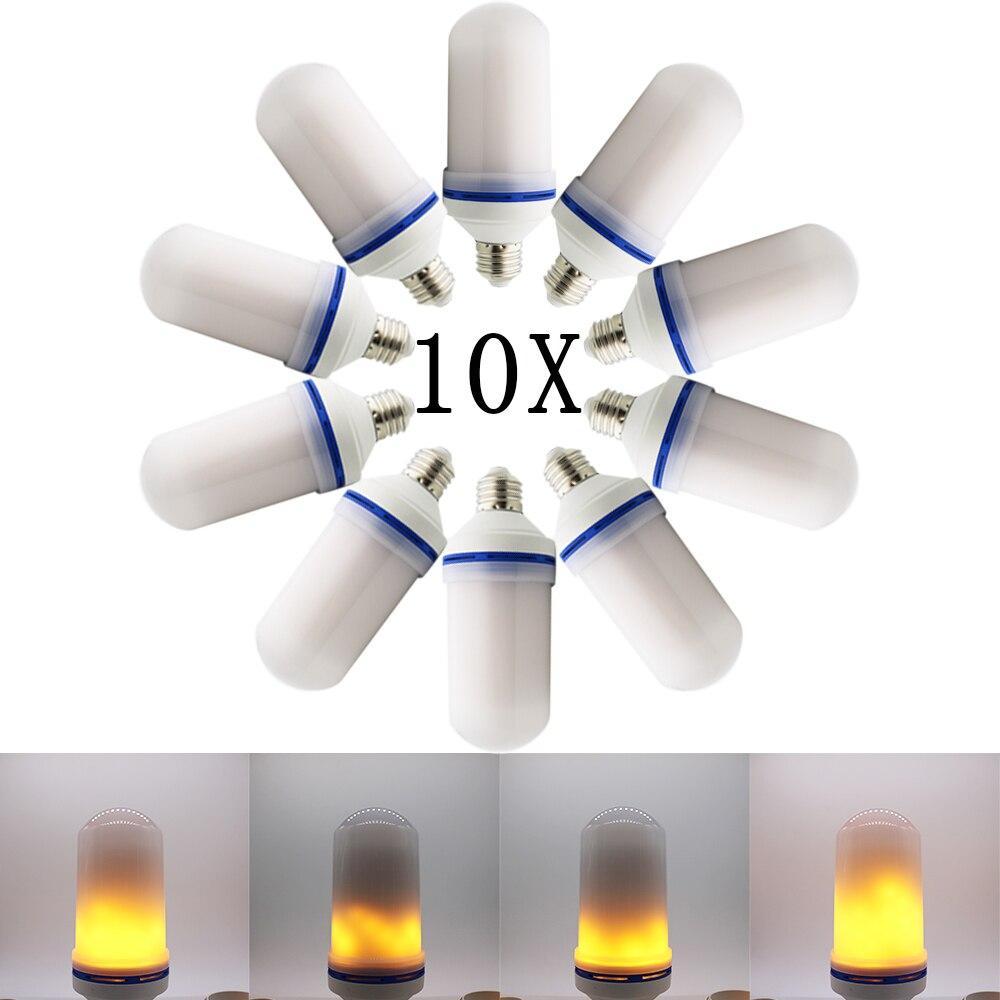 10X E27 Led Flame Lamp 10W 2835SMD LEDFlame Effect Light Bulb E26 AC85-260V Flickering Emulation Fire Lights Decoration Lamp