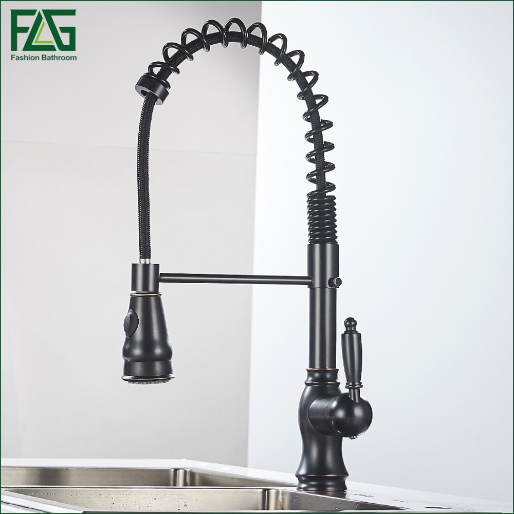 купить Spring Style Oil Rubbed Bronze Kitchen Faucets Grifo Pull Out 360 Degree Rotating Deck Mounted Cold And Hot Kran Water 292-33AB онлайн