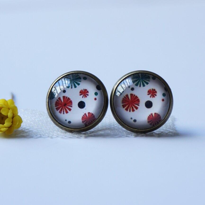woman lady cute glass earring costume jewelery earrings Fashion cabochon Earing handmade flower earring vintage stud earrings