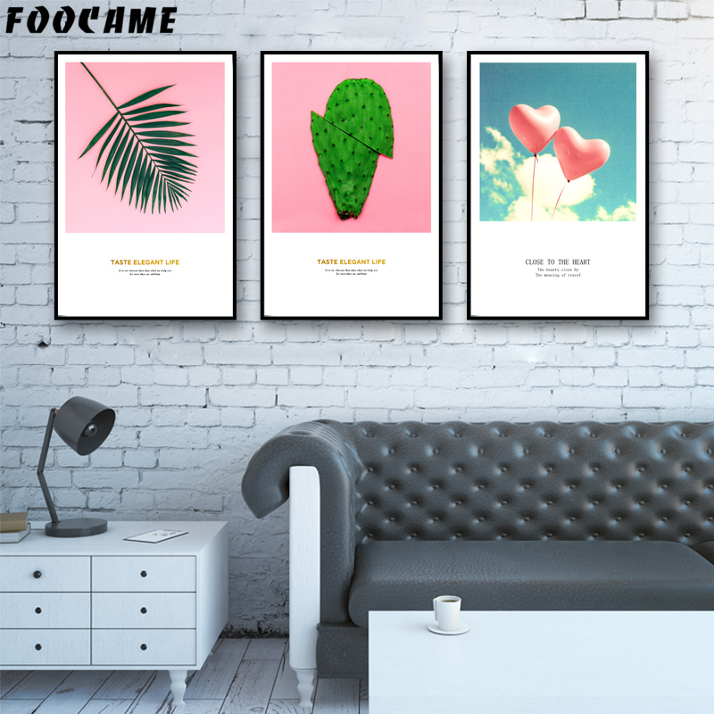 Foocame Tropical Plant Leaves Cactus Nordic Style Posters