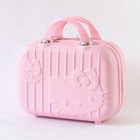 Cartoon Hello Kitty Cosmetic Case Box Hellokitty Makeup Case ABS 14Inch Cute Tourism Fashion Suitcase Luggage Maleta Valise