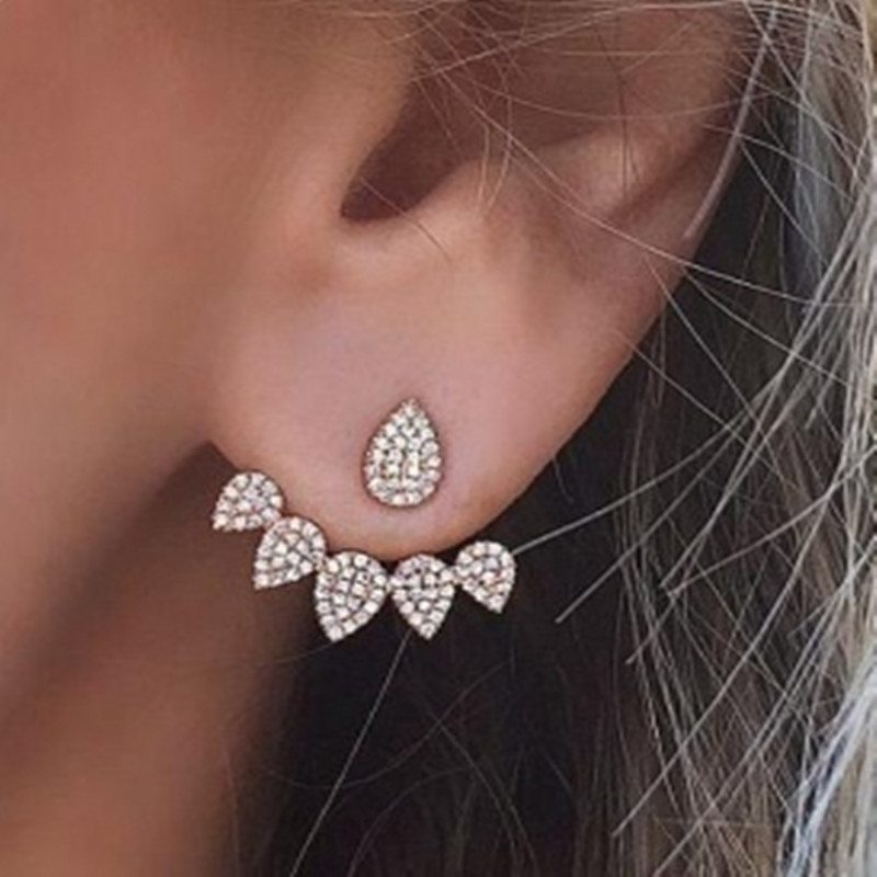 Drop Crystals Stud Earring for Women gold color Double Sided Fashion Jewelry Earrings female Ear brincos Pending(China)