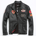 Men's Leather Jacket Men's Motorcycle Jacket Slim And Motorcycle Clothing With Badge CMX 404
