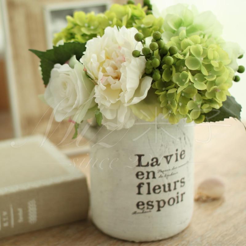 Freshing Green Artificial Hydrangea Berries Vase 2