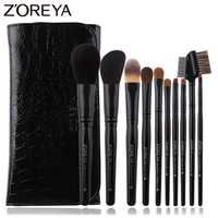 Zoreya 10Pcs Black Luxury Animal Hair Makeup Brushes Set Powder Concealer Eye Shadow Cosmetic Tools Professional