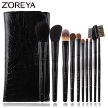 ZOREYA 10 sztuk czarny luksusowy sierść zwierzęca zestaw pędzli do makijażu w proszku korektor cień do powiek przybory kosmetyczne profesjonalny makijaż naturalny