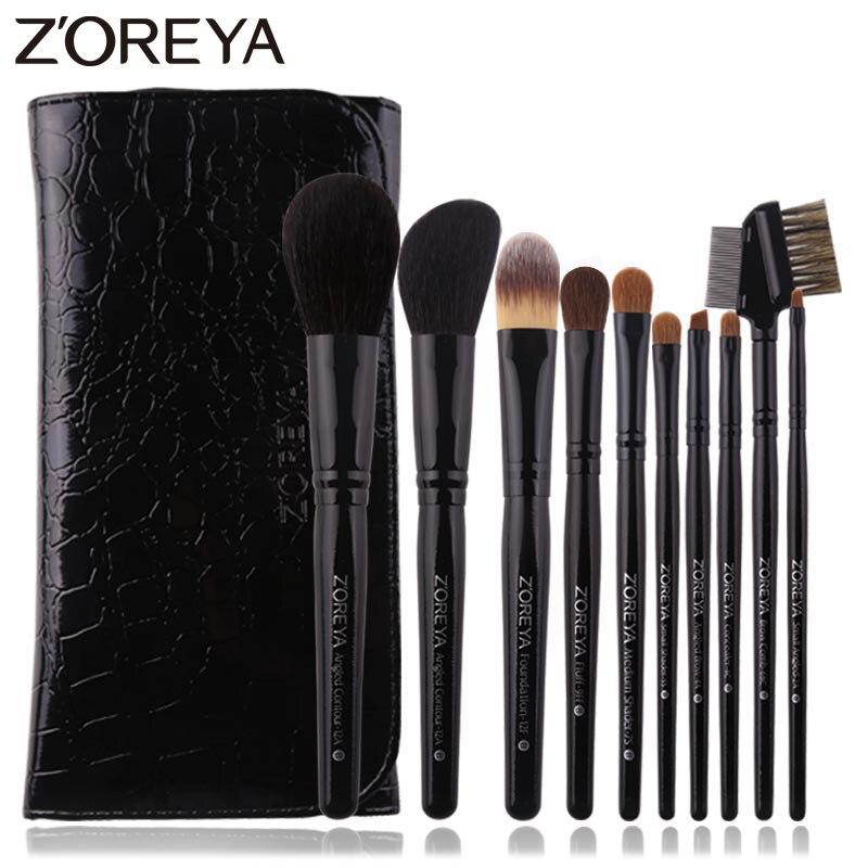 Zoreya 10Pcs Black Luxury Animal Hair Makeup Brushes Set Powder Concealer Eye Shadow Cosmetic Tools Professional