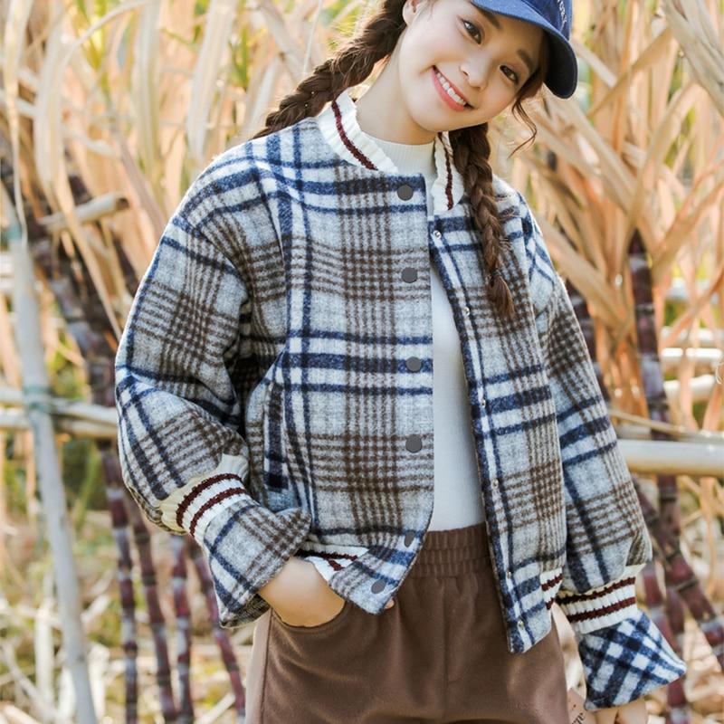 Liberal 2018 Autumn And Winter New School College Wind Woolen Lattice Baseball Uniform Coat Shirt Women Winter Coat