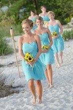 2016 New Cheap Short Bridesmaid Dresses Sweetheart Strapless Beach Sky Blue Hot Sale
