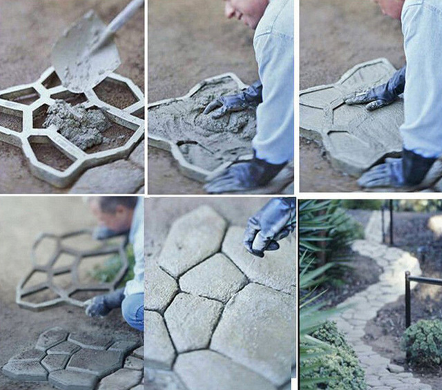 Ornaments Garden Pavement Mold DIY Plastic Path Maker Mold Manually Paving Cement Brick Molds The Stone Road Concrete Molds Tool