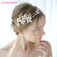 2019 Leaf Flora Headband Bridal Hairbands Crown Pearl Headpiece Headdress Wedding Hair Accessories Bride Tiara Jewelry