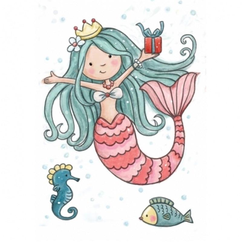 Oprecht Transparant Rubber Siliconen Clear Postzegels Voor Tampons Seal Achtergrond Collage Stempel Vakantie Kaart Card Making Diy Mermaid Prinses