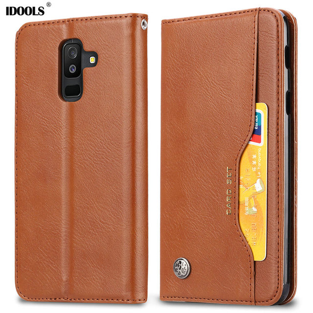 finest selection e53ed eeba9 US $4.98 |IDOOLS Flip Case For Samsung Galaxy A6 Plus A6+ PU Leather TPU  Wallet Cover Stands Phone Bags Cases For Samsung A6 Plus Shell-in Flip  Cases ...