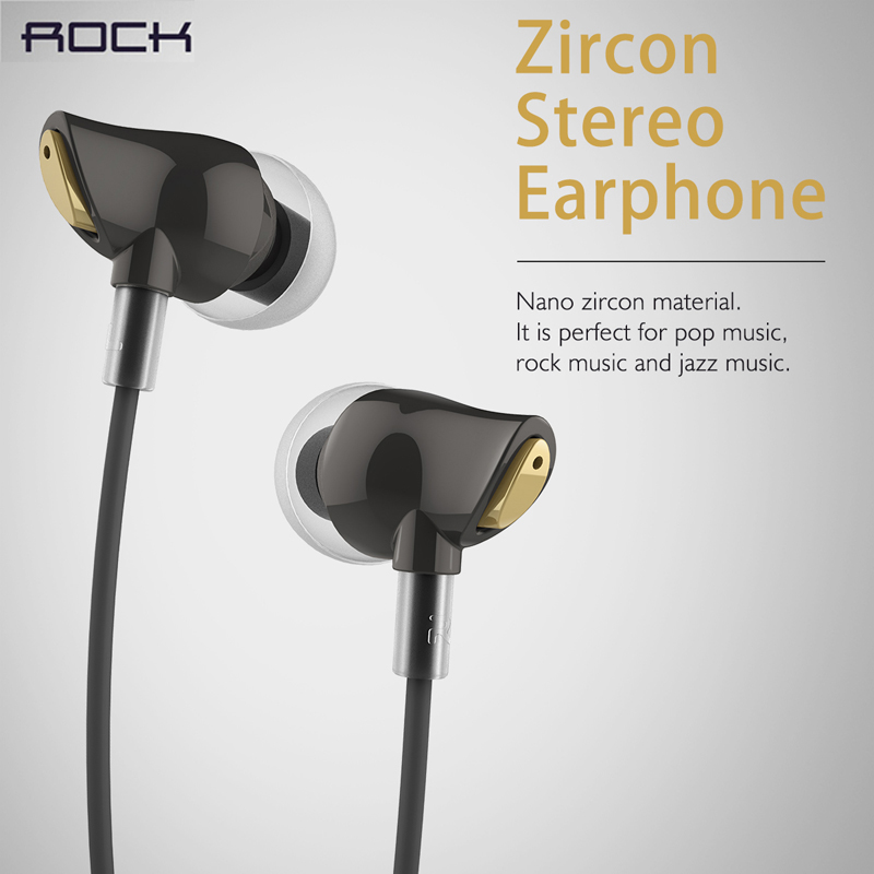 ROCK Original Zircon Stereo In Ear Earphone with Microphone for iPhone 5/5S/6/6S/7 Samsung/xiaomi Huawei iPod (Black&white)