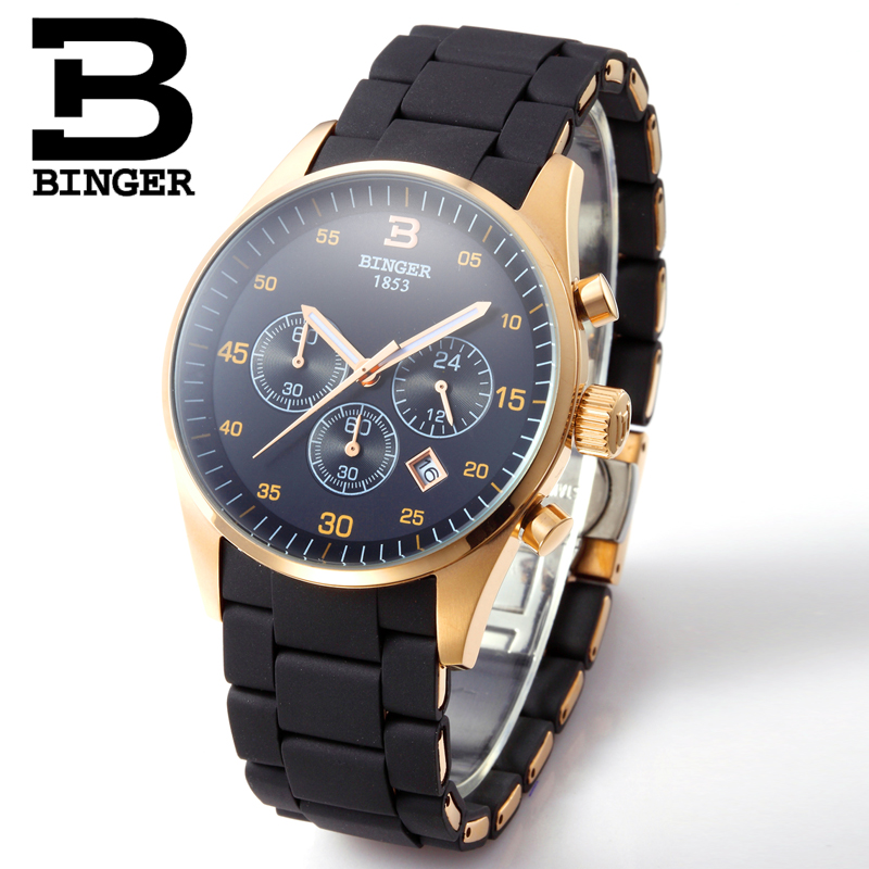 Luxury Brand Switzerland BINGER Men Stainless Steel Sapphire Luminous Gold Quartz Watches Hunter Three Eye Stopwatch waterproof