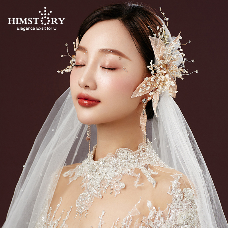 HIMSTORY Handmade Gold Crystal Pearls Flower Leaf Wedding Hairpins Barrettes Bridal Headpieces Hair accessories Bridesmaids