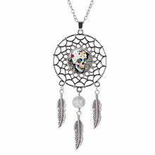 1PC Fashion Women Men Hollow Skull Dreamcatcher Chain Pendant Necklace Personality Jewelry