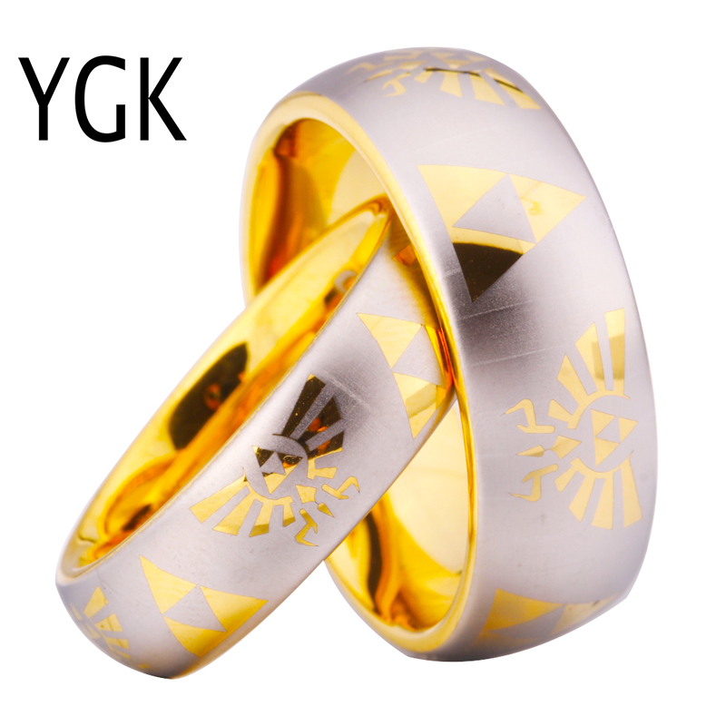 YGK Brand JEWELRY Hot Sales One Pair 6MM and 8mm Golden Dome Comfort <font><b>Legend</b></font> <font><b>of</b></font> <font><b>Zelda</b></font> Tungsten Wedding <font><b>Rings</b></font> for Man and Woman image