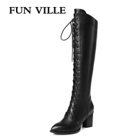 FUN VILLE 2017 New Fashion High Quality Women High Boots Pu Genuine Leather Autumn Winter Women
