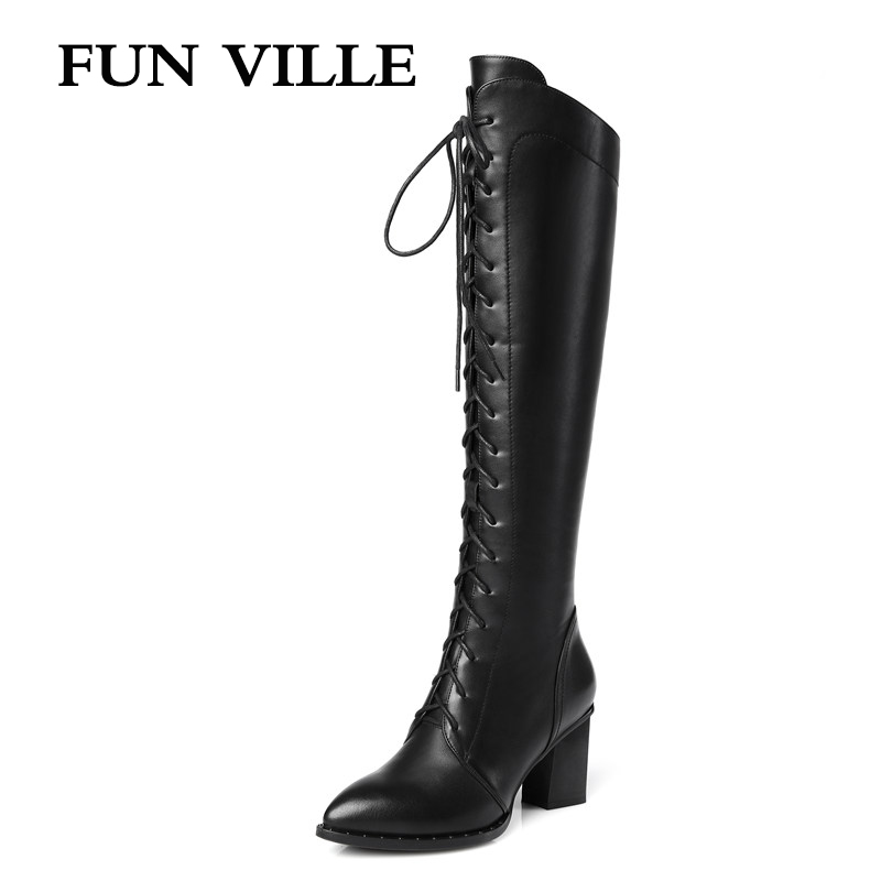 FUN VILLE 2017 New Fashion High quality women high boots pu+ genuine leather Autumn winter women knee high boots Size 34-42 контурный карандаш для бровей тон 11 шоколадный шатен poeteq
