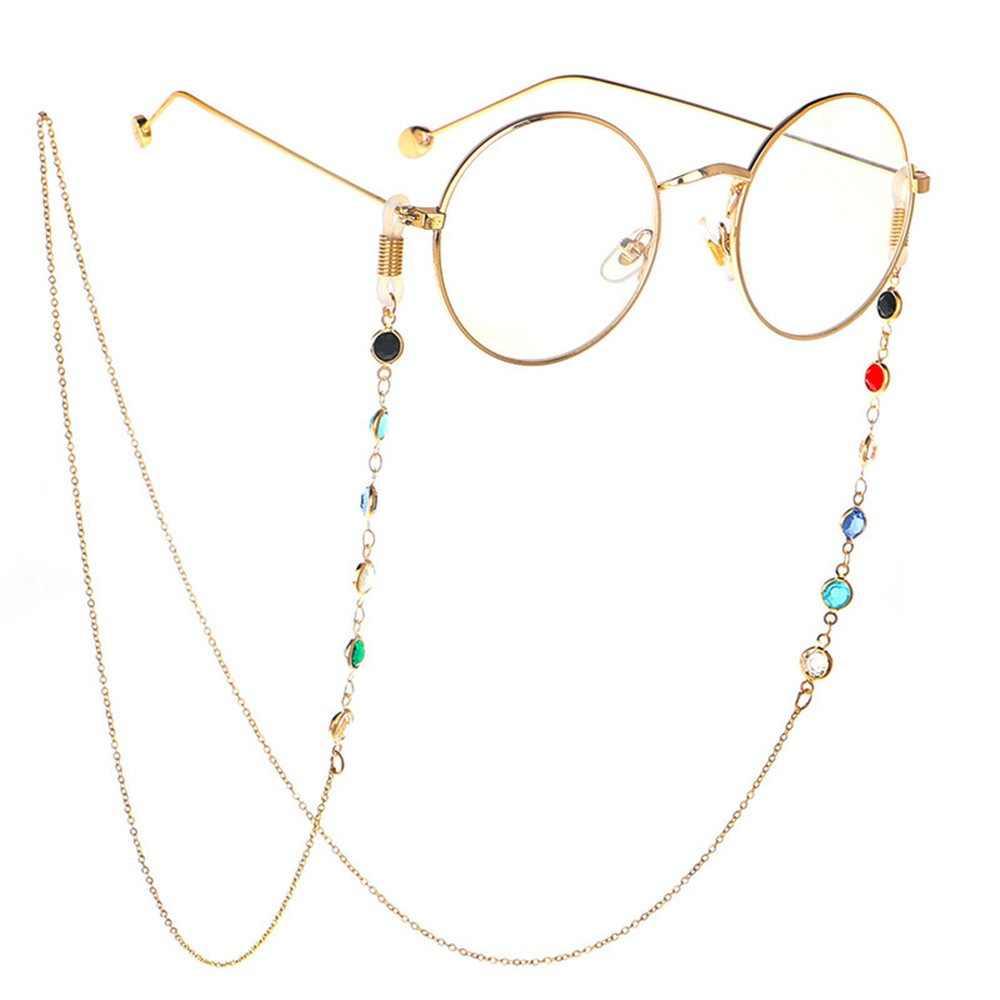 แฟชั่นแว่นตาผู้หญิงแว่นตาผู้ชายสแตนเลส 75 ซมแว่นตากันแดดสร้อยคอแว่นตาสายคล้องอ่าน