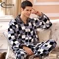 Thoshine 2017 Spring Winter Men Thermal & Anti Cold Coral Fleece Pijamas sets of Sleepcoat & Pants Male Flannel Nighty Sleepwear