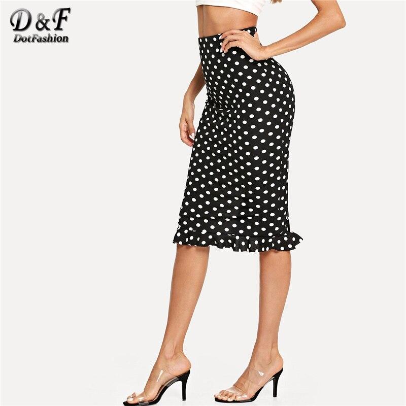 Dotfashion Black And White Slit Back Ruffle Hem Polka Dot Skirt Womens 2019 Autumn Casual High Waist Sheath Knee Length Skirt polka dot