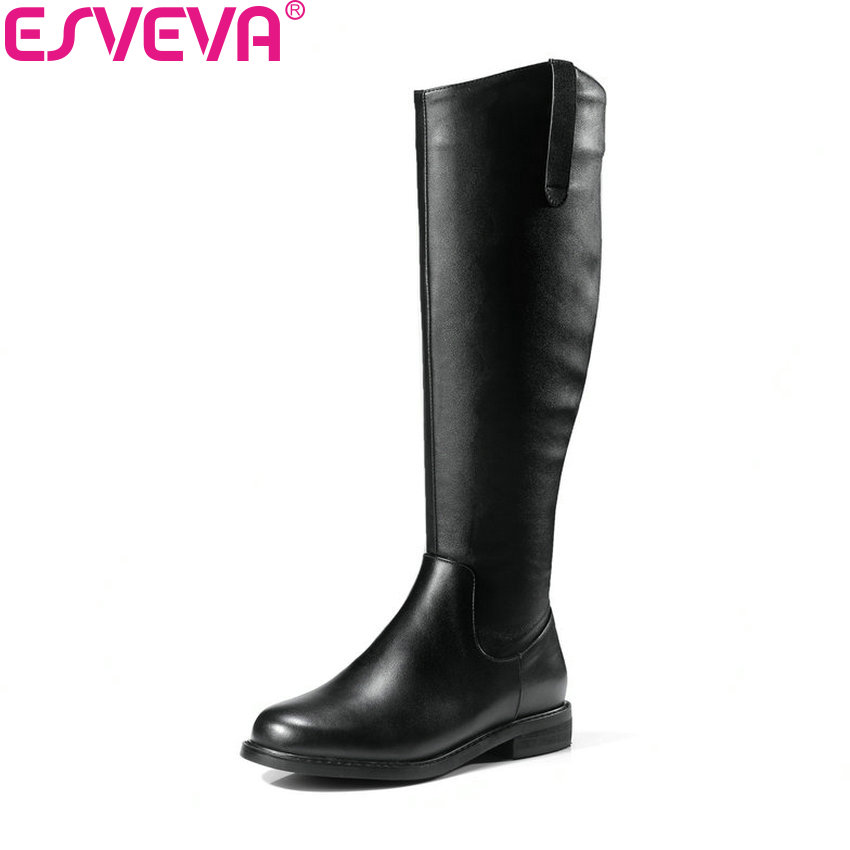 ESVEVA 2019 Women Shoes Low Heels Square Toe Solid Winter Boots Square Heels Knee High Boots Zipper Autumn Shoes Size 34-39
