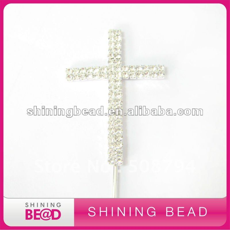 cross shape rhinestone cake topper+high quality+free - Festive and Party Supplies