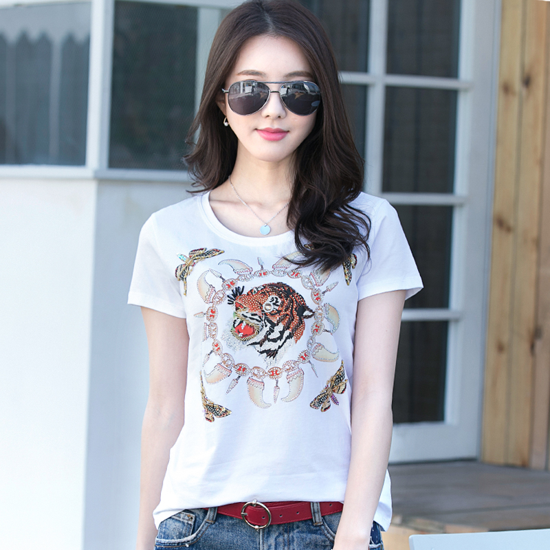 KEQI 2019 Brand Designer Women s Beading Sequins T-shirts Character Cute Tiger  Pattern Lady Summer 3dd252e916bf