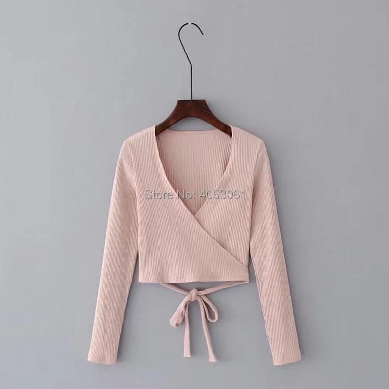 Nuevas Negro Nudo rosado Casual Camisa Tie Largo Cintura blanco Mujeres rosa rojo Con Wrap V 2018 wishbop Otoño blanco Negro Señoras rojo Cuello Top Mangas 7xBRn1XF
