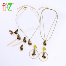 F.J4Z New Arrival Butterfly Jewelry Collection Colorful Rhinestone Choker Necklaces Earrings Women Beautiful Hairpins Accessory