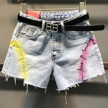 e0739f46522 Расписные джинсовые шорты женские 2019 летние новые буквы свободные с  высокой талией прямые широкие джинсы шорты