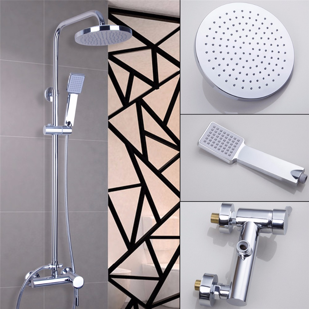 Luxury Bathroom Rainfall Shower Head Waterfall Shower Sets Faucet Wall Mounted With Slide BarPolished Chrome Mixer Taps wall mounted waterfall shower faucet glass set copper bathtub faucet shower chrome bathroom handheld shower head faucet mixer