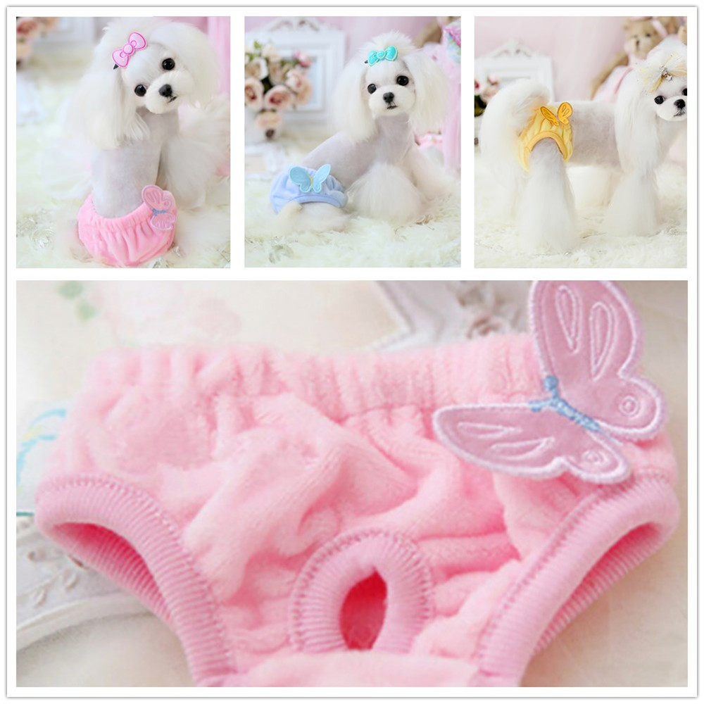 Butterfly Dog Physiological Pants Velvet Breathable Pet Dog Clothes For Small Dogs Chihuahua French Bulldog Pet Underwear S-L
