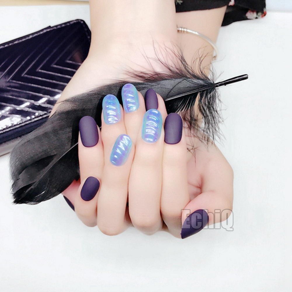 28Pcs Dark Blue Matte Fake Nails Symphony Blue Shells False Nails ...