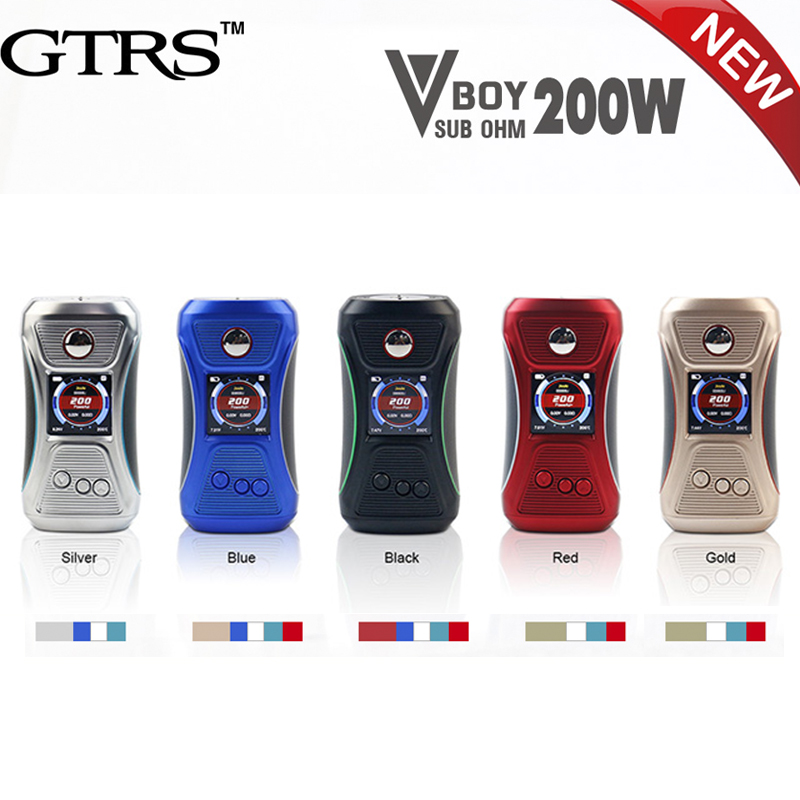 Original GTRS 200W VBOY 200 TC Box MOD Kit with SX500 Chipset Electronic Cigarette Vape Fit 510 Thread Tank Atomizer Vaporizer original ehpro fusion 2 in 1 kit 150w tc mod box 4ml double chambers atomizer rdta metal 510 thread electronic cigarette vape