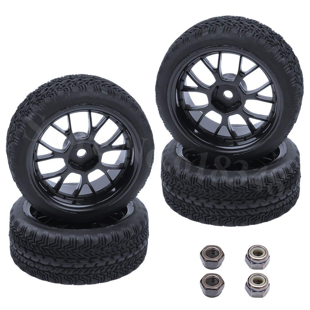 Noir Alliage D/'Aluminium 10-Rayons Jante Pour RC1:10 On-Road Racing Voiture Pack De 4