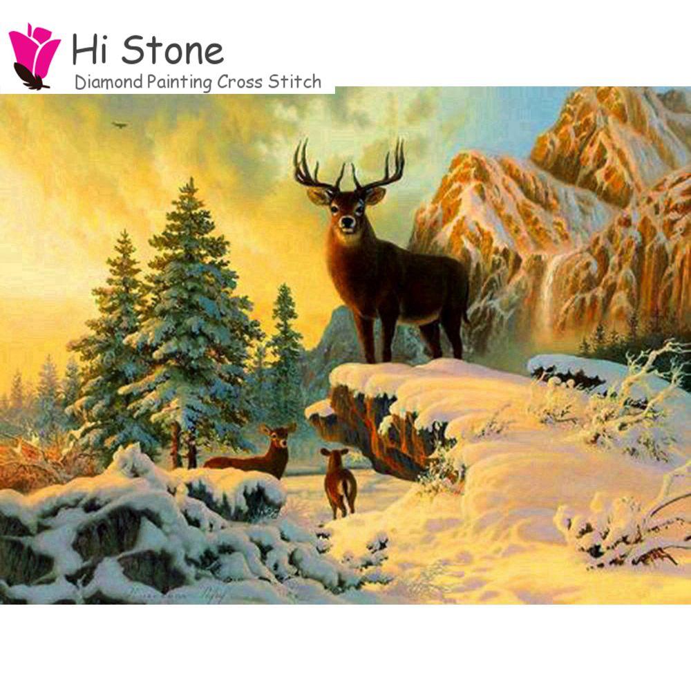 Новый Алмаз Вышивка 5D DIY алмазов картина вышивки крестом ремесла снег олени Алмазная мозаика полный квадратный Стразы подарки