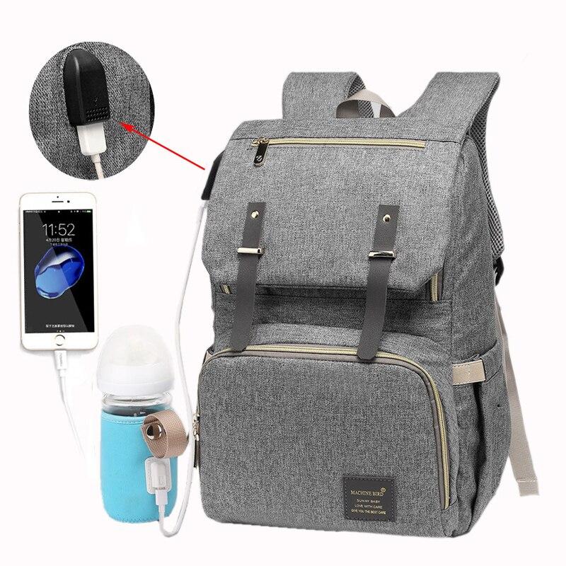 Bolsa de pañales impermeable bolsas de viaje cochecito de bebé bolsa de pañales papá gran capacidad USB recargable independiente de aislamiento mochila