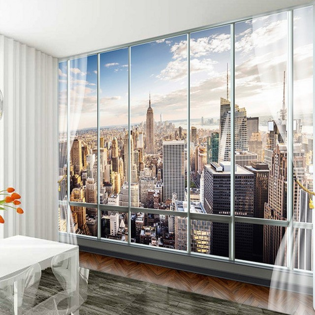 beibehang Custom Wallpapers 3D Stereo Mural Modern Virtual Window Living Sofa Bed Bedroom New York Background