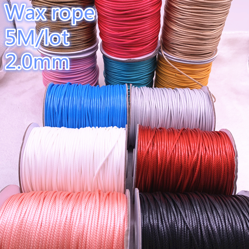 5M Dia 2.0mm Waxed Cotton Cord Waxed Thread Cord String Strap Necklace Rope Bead For Jewelry Making DIY Bracelet