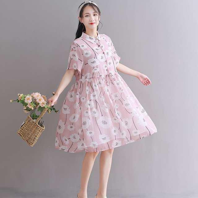 599edbf5 US $18.95 40% OFF Odzież ciążowa sukienki dla kobiet w ciąży kobiety moda  drukuj szyfonowa luźna linia Plus rozmiar karmienie piersią sukienki ...