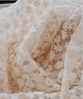 Ivory Embroidered lace fabric, vintage antique bridal lace, daisy lace fabric MF176