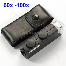 Mini Handheld 60x-100x Pocket Microscope Magnifer Loupe -B119