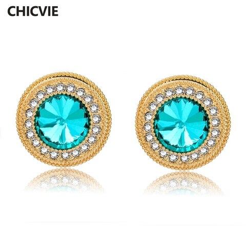 Chicvie винтажные круглые синие хрустальные серьги для женщин